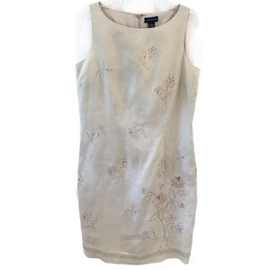 Ann Taylor Embroidered Linen Shift Dress Size 10